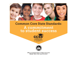 CCSS Webinar Series Part 3, Systems Webinar for School District
