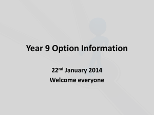 Year 9 Option Choices - Wyedean School and Sixth Form Centre