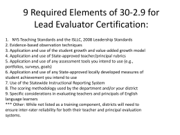 9 Required Elements of 30-2.9 for Lead Evaluator Certification: