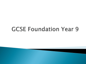 GCSE Foundation Year 9 - Claremont High School