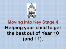 Moving into Key Stage 4