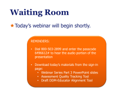 DDM Webinar Part 3 - Massachusetts Department of Education