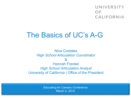 The Basics of UC`s A-G - University of California | Office of The