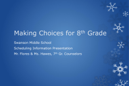 Making choices for Grade 8