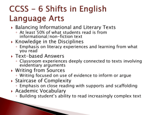 CCSS - 6 Shifts in English Language Artsx