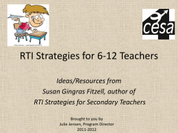 RtI Strategies for 6-12 Teachers (x)