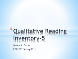 Qualitative Reading Inventory-5x - EDU320