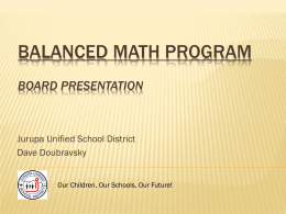 Balanced Math Program - Jurupa Unified School District