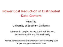 Power Cost Reduction in Distributed Data Centers