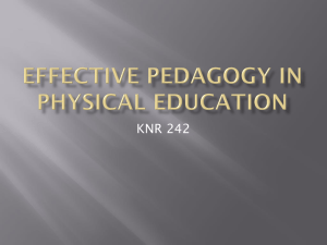 3 - Effective Pedagogy in Physical Education
