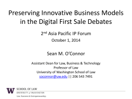 O`Connor Asia Pacific IP Forum 20141001