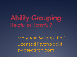Ability Grouping - Pennsylvania Association for Gifted Education