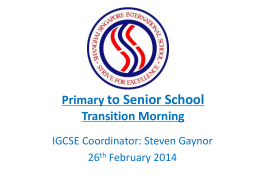 Primary to Senior School Transition Morning