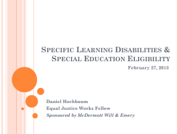 Learning Disabilities and Special Education