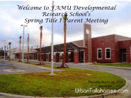 2013 Parent Meeting
