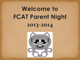 FCAT Parent Night 2013-2014 Presentation1