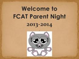 FCAT Parent Night 2013-2014 Presentation1
