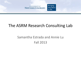The ASRM Research Consulting Lab