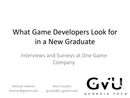 What Game Developers Look for in a New Graduate