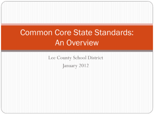 CCSS Overview - January 2012
