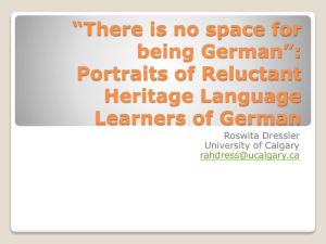 New Insights into Heritage Language Learners of German