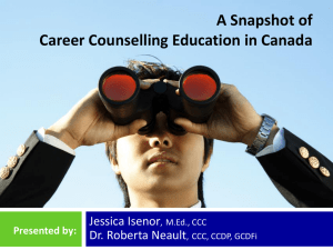 A Snapshot of Career Counselling Education in Canada