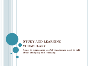 Study and learning vocabulary