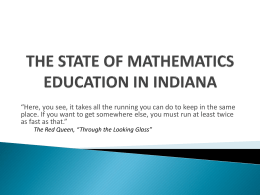 the state of mathematics education in indiana