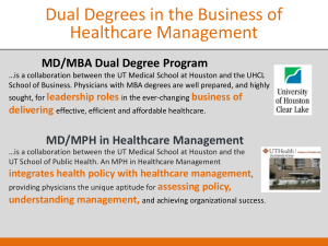 MD/MPH in Healthcare Management