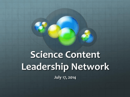 Powerpoint - GRREC Science Content Leadership Network