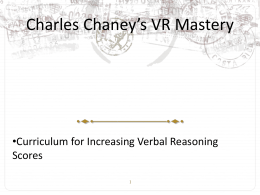 MCAT Chaney`s Verbal Reasoning Mastery Lecture Notes #8