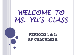 WELCOME TO MS. YU*S CLASS