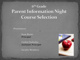 7th Grade Course Selections