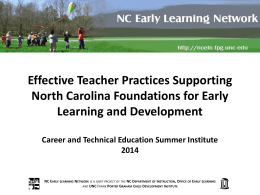 Foundations for Early Learning and Development