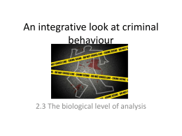 An integrative look at criminal behaviour