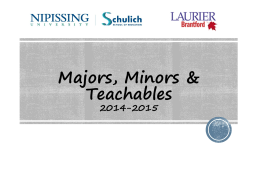 Majors, Minors & Teachables Presentation 2014