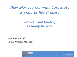 New Mexico`s Common Core State Standard`s RFP Process