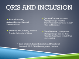 QRIS and Inclusion - 2015 Early Childhood Inclusion Institute