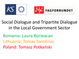Social Dialogue and Tripartite Dialogue in the Local Government