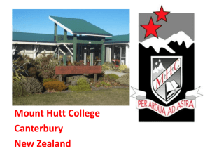 Mount Hutt College Canterbury New Zealand Where we are