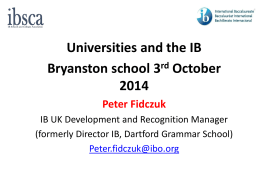 Universities and the IB: 3 October 2014