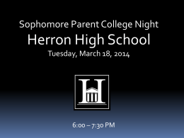 Sophomore College Night PowerPoint 3.14.14