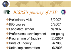 PYP journey in JCSRS