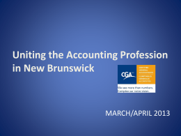 Slides - Certified General Accountants Association of New Brunswick