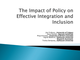 The Impact of Policy on Effective Integration and Inclusion