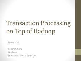 Transaction Processing on Top of Hadoop