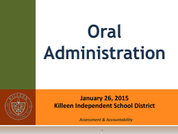 STAAR Oral Admin Training - Killeen Independent School District