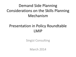 Demand Side Planning Considerations on the Skills Planning