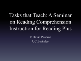 A Seminar on Reading Comprehension Instruction for Reading Plus