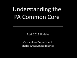 Understanding the PA Common Core Updated
